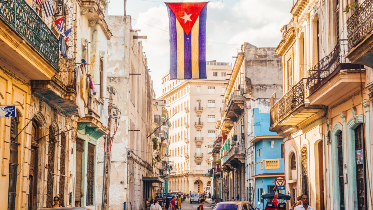 Cuban flag flying in Havana