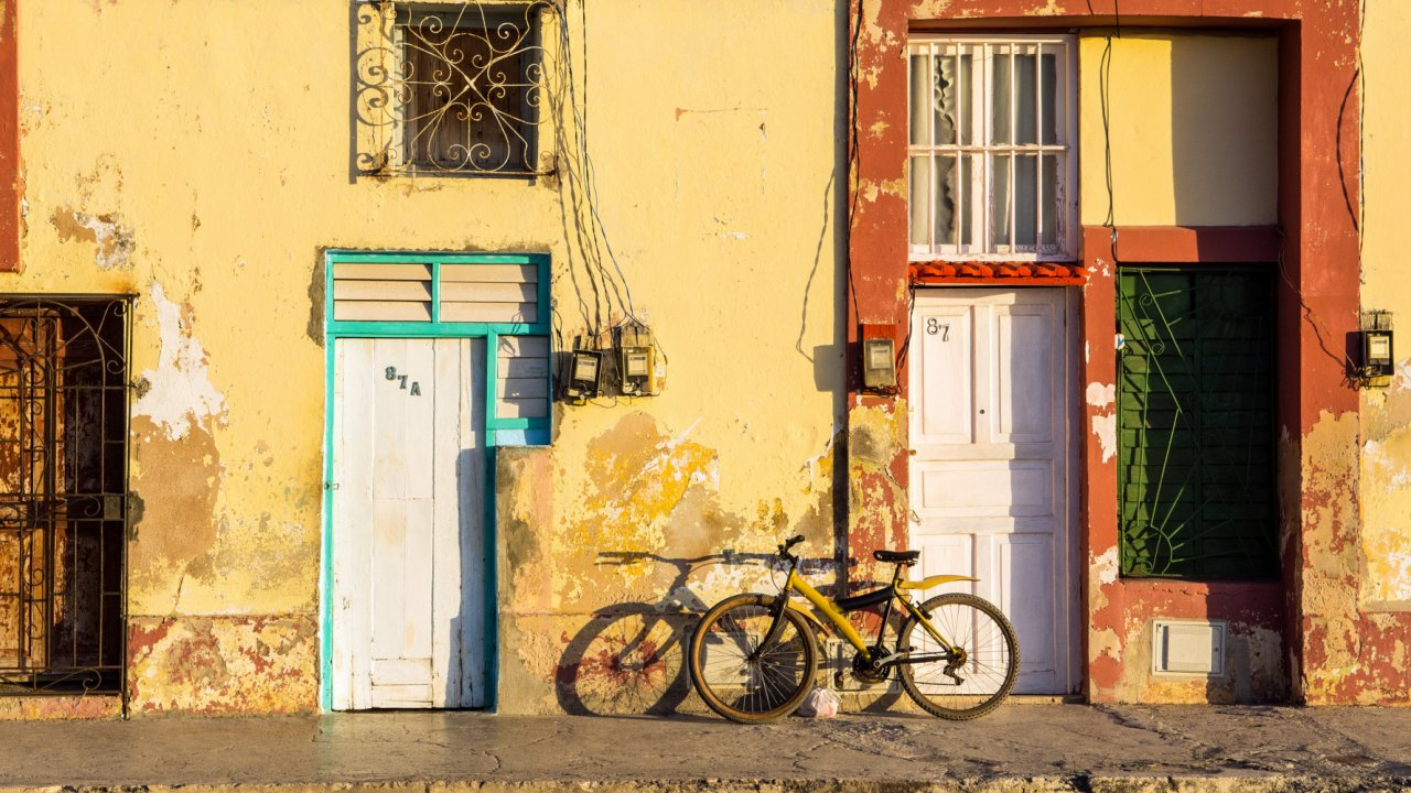 old building and bikes in Cuba